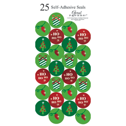 """Great Papers! Holiday Foil Seals, 1"""", Green/Red/White, String Of Lights, Pack Of 50"""