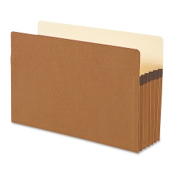 """Smead® Straight-Cut Tab Redrope File Pockets, Legal Size, 5 1/4"""" Expansion, 30% Recycled, Redrope, Box Of 50"""