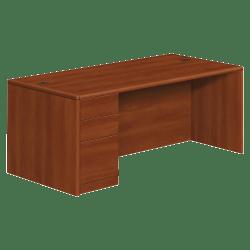 HON® 10700 Series Laminate Left Pedestal Desk, Box/Box/File, Cognac