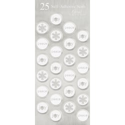 """Great Papers! Holiday Foil Seals, 1"""", Silver/White Foil, Icy Flakes, Pack Of 50"""
