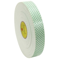"3M™ Medium-Duty Double-Sided Foam Tape, 3"" Core, 1/2"" x 108', Natural"