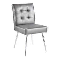 Office Star™ Avenue Six Amity Tufted Dining Chair, Sizzle Pewter/Silver
