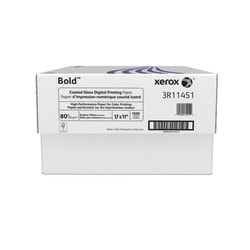 """Xerox® Bold Digital™ Coated Gloss Printing Paper, Ledger Size (11"""" x 17""""), 94 (U.S.) Brightness, 80 Lb Text (120 gsm), FSC® Certified, White, 500 Sheets Per Ream, Case Of 3 Reams"""