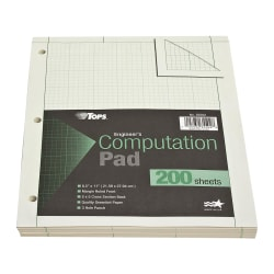 "TOPS? Engineer's Computation Pad, 8 1/2"" x 11"", 200 Sheets, Green"