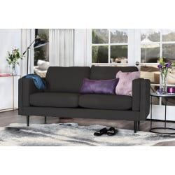 Elle Décor Simone Double-Track Arm Sofa, Charcoal/Espresso