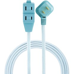 Cordinate Braided 3-Outlet Indoor Extension Cord, 8', Mint/White, 39983-T1