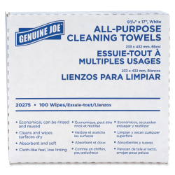 "Genuine Joe All-Purpose Cleaning Towels - 17"" x 9.50"" - White - Fabric - Absorbent, Medium Duty, Reusable - For Multipurpose - 100 Quantity Per Box - 1000 / Carton"