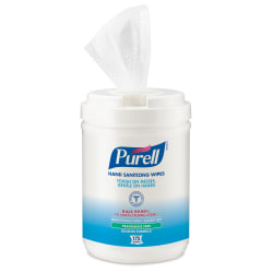 """PURELL® Alcohol Hand Sanitizing Wipes - 6"""" x 7"""" - White - Moisturizing, Durable, Lint-free, Textured, Fragrance-free, Dye-free, Non-sticky, Residue-free, Anti-septic, Hypoallergenic, Non-irritating - For Hand - 175 Per Canister - 6 / Carton"""