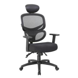 Boss Mesh Multifunction Mid-Back Task Chair With Headrest, Black