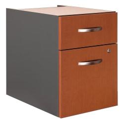"Bush Business Furniture Components 20-1/6""D Vertical 2-Drawer 3/4 Pedestal Cabinet, Auburn Maple/Graphite Gray, Standard Delivery"