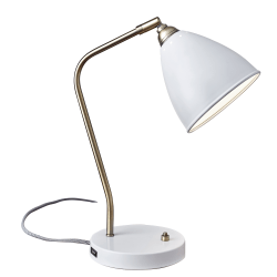 "Adesso® Chelsea Desk Lamp, 21""H, White Shade/White Base"