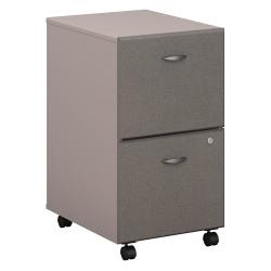 "Bush Business Furniture Office Advantage 20-1/6""D Vertical 2-Drawer Mobile File Cabinet, Pewter/Pewter, Standard Delivery"