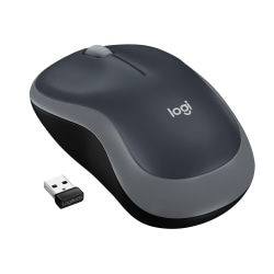 Logitech® M185 Wireless Optical Mouse, Gray, 910-002225