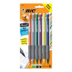 BIC® Xtra Comfort Mechanical Pencils, 0.7 mm, Assorted Barrel Colors, Pack Of 6