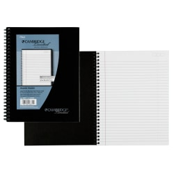"""Cambridge® Limited® 30% Recycled Business Notebook, 6 5/8"""" x 9 1/2"""", 1 Subject, Legal Ruled, 80 Sheets, Black (06672)"""