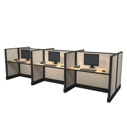 Cube Solutions Commercial-Grade Low-Height Call-Center Cubicle, Includes Integrated Power, Pod of 6