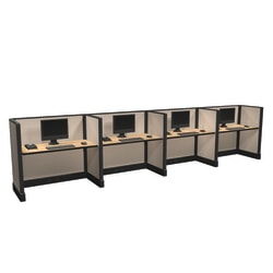 Cube Solutions Commercial-Grade Low-Height Call-Center Cubicle, Includes Integrated Power, Line of 4