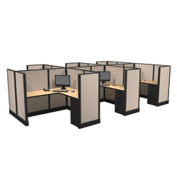 Cube Solutions Commercial-Grade Mid-Height L-Shaped Space-Saver Cubicle, Includes Integrated Power, Pod of 6