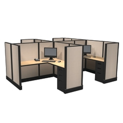 Cube Solutions Commercial-Grade Mid-Height L-Shaped Space-Saver Cubicle, Includes Integrated Power, Pod of 4