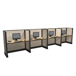Cube Solutions Commercial-Grade Mid-Height Call-Center Cubicle, Includes Integrated Power, Line of 4
