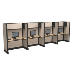 Cube Solutions Commercial-Grade Full-Height Call-Center Cubicle, Includes Integrated Power, Line of 4