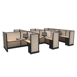 Cube Solutions Commercial-Grade Mid-Height L-Shaped Junior Executive Cubicle, Includes Integrated Power, Pod of 6