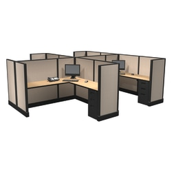 Cube Solutions Commercial-Grade Mid-Height L-Shaped Junior Executive Cubicle, Includes Integrated Power, Pod of 4