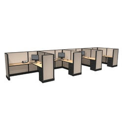 Cube Solutions Commercial-Grade Mid-Height L-Shaped Junior Executive Cubicle, Includes Integrated Power, Line of 4