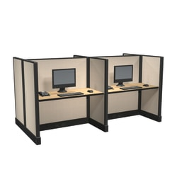Cube Solutions Commercial-Grade Mid-Height Call-Center Cubicle, Includes Integrated Power, Pod of 4