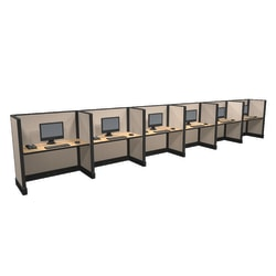 Cube Solutions Commercial-Grade Mid-Height Call-Center Cubicle, Includes Integrated Power, Line of 6