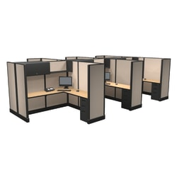 Cube Solutions Commercial-Grade Full-Height L-Shaped Junior Executive Cubicle, Includes Integrated Power, Pod of 6