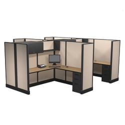 Cube Solutions Commercial-Grade Full-Height L-Shaped Junior Executive Cubicle, Includes Integrated Power, Pod of 4