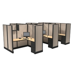 Cube Solutions Commercial-Grade Full-Height L-Shaped Space-Saver Cubicle, Includes Integrated Power, Pod of 6
