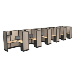 Cube Solutions Commercial-Grade Full-Height L-Shaped Space-Saver Cubicle, Includes Integrated Power, Line of 6