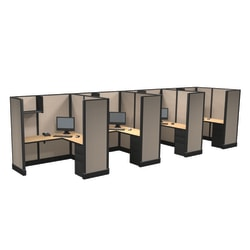 Cube Solutions Commercial-Grade Full-Height L-Shaped Space-Saver Cubicle, Includes Integrated Power, Line of 4