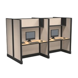 Cube Solutions Commercial-Grade Full-Height Call-Center Cubicle, Includes Integrated Power, Pod of 4