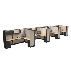 Cube Solutions Commercial-Grade Full-Height L-Shaped Supervisor Cubicle, Includes Integrated Power, Line of 4