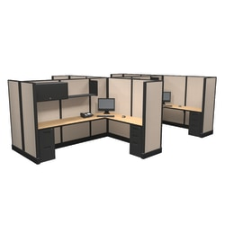 Cube Solutions Commercial-Grade Full-Height L-Shaped Supervisor Cubicle, Includes Integrated Power, Pod of 4