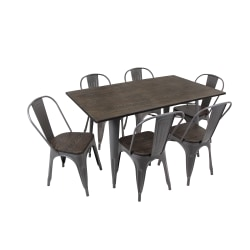 Lumisource Oregon Table Set, 6 Chairs, Antique/Espresso