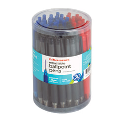 Office Depot® Brand Retractable Ballpoint Pens With Grips, Medium Point, 1.0 mm, Black/Blue/Red Barrels, Black/Blue/Red Inks, Pack Of 50 Pens