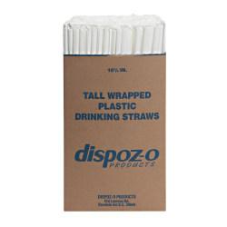 "Dispoz-O Tall Giant Straws, 10 1/4"", Translucent, 1,200 Straws Per Pack"