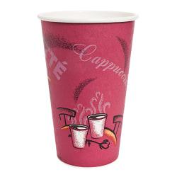 Solo® Bistro Design Hot Drink Cups, 16 Oz, Maroon, Carton Of 1,000