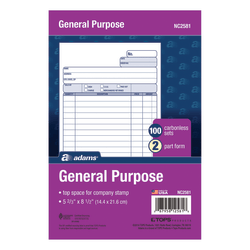 """Adams® Carbonless All-Purpose Forms, 2-Part, 8 1/2"""" x 5 11/16"""", White/Canary, 100 Sets Per Book, Carton Of 12 Packs"""