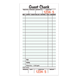 "Adams® Guest Check Books, 1-Part, 3 2/5"" x 6 3/4"", 10 Pads Of 50 Sheets Each (500 Guest Checks Total)"