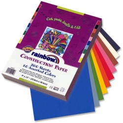 """Rainbow® Super Value Construction Paper, 9"""" x 12"""", Assorted Colors, Pack Of 200"""