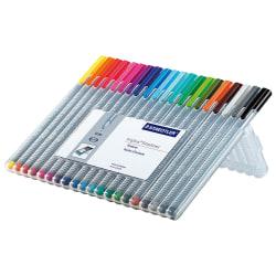 Staedtler® Triplus Fineliner Porous Point Pens, Fine Point, 0.3 mm, Gray Barrel, Assorted Ink Colors, Pack Of 20