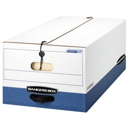 """Bankers Box® Liberty® FastFold® Heavy-Duty Storage Boxes With Locking Lift-Off Lids And Built-In Handles, Legal Size, 24"""" x 15"""" x 10"""", 60% Recycled, White/Blue, Case Of 4"""