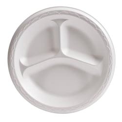 "Genpak 3-Compartment Foam Dinnerware Plates, 8 7/8"", White, 125 Plates Per Pack, Case Of 4 Packs"