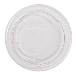 Solo Straw-Slot Cold Cup Lids, Fits 9, 12 - 14 oz Cups, Clear, 10 sleeves of 100 lids each per Case, Sold by the Case