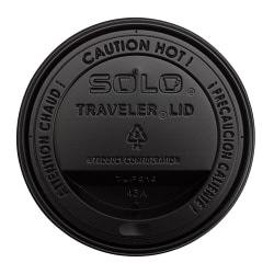 Solo® Traveler Drink-Thru Lids For 10 - 24 Oz Cups, Black, 100 Lids Per Sleeve, Case Of 10 Sleeves